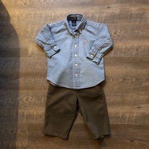 Ralph Lauren Classic  Button Down Gap Pants12-18mo